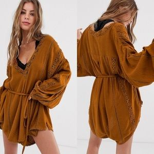 Free People | I Mean It Embroidered Romper sz S